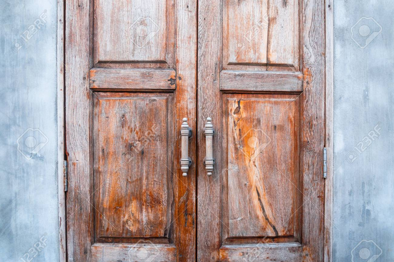 Old Wooden Door Brown Retro Thai Design Craft Door Background Stock