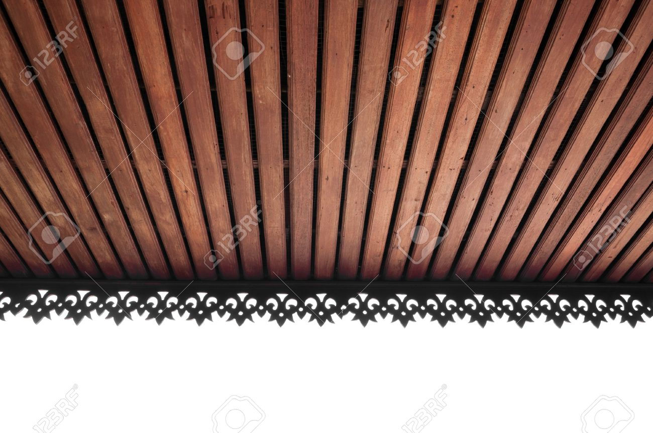 Stock Photo   Wooden Slat Ceiling With Exposed Beams,wooden Ceiling  Roof,lanna Thailand Architecture Style