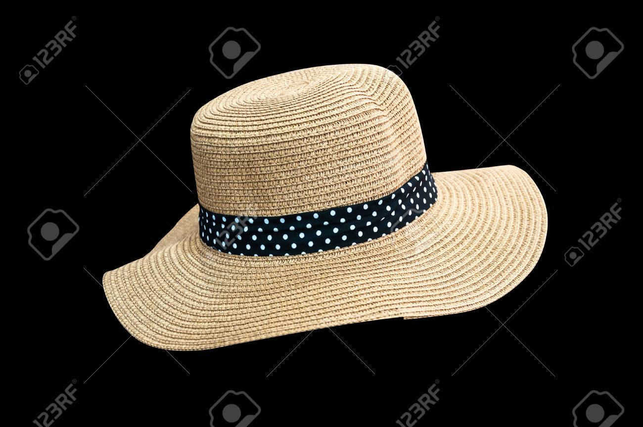 30f6e558270 Stock Photo - Woven fedora hat isolated on black background with clipping  path
