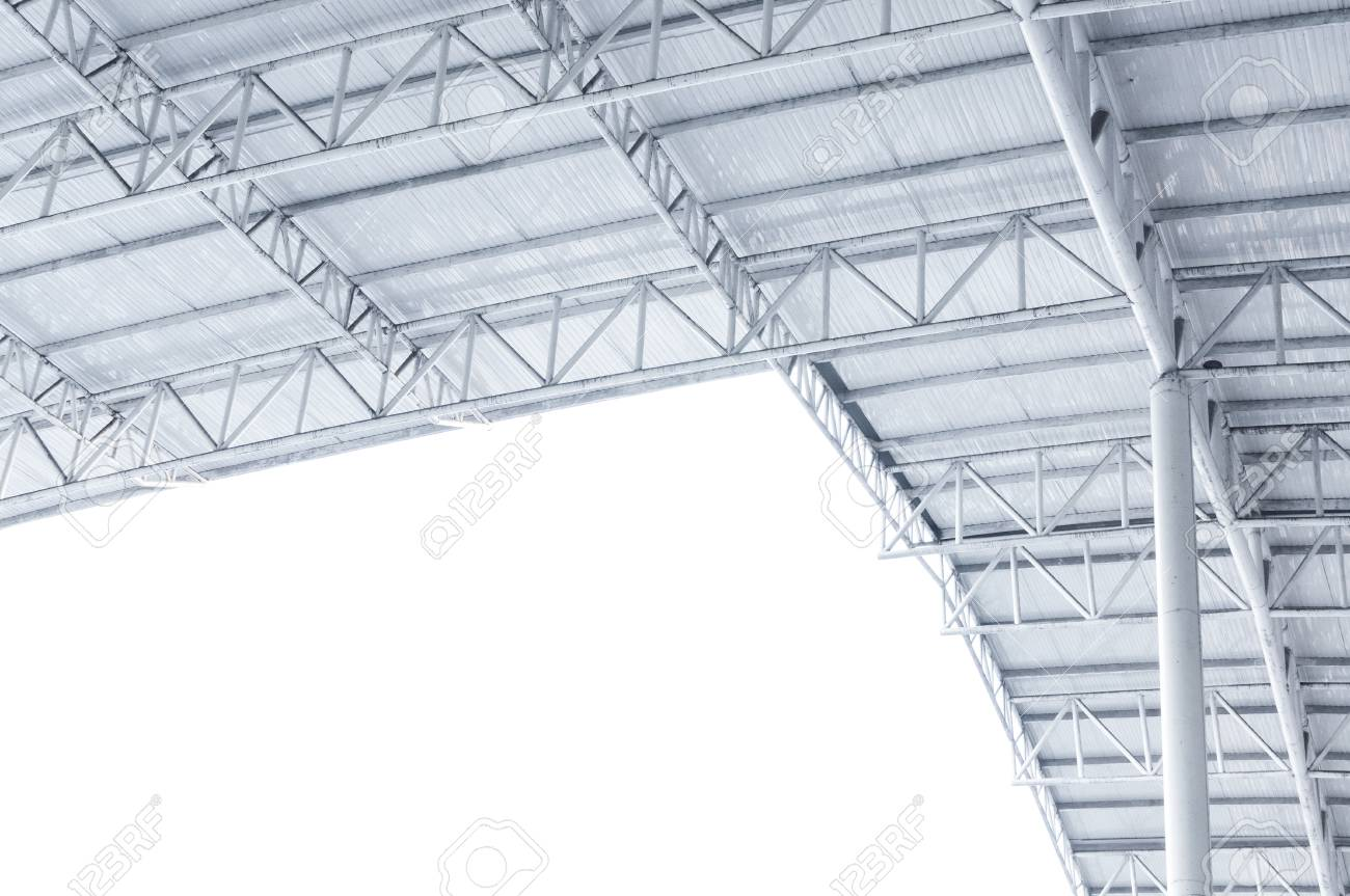 Large Steel Structure Truss, Roof Frame And Metal Sheet In Building ...