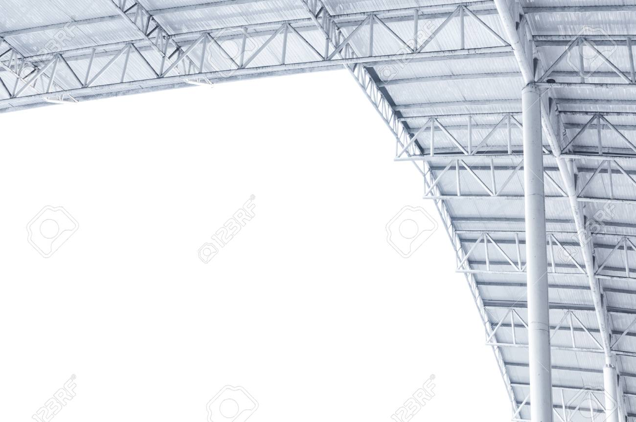 large steel structure truss roof frame and metal sheet in building