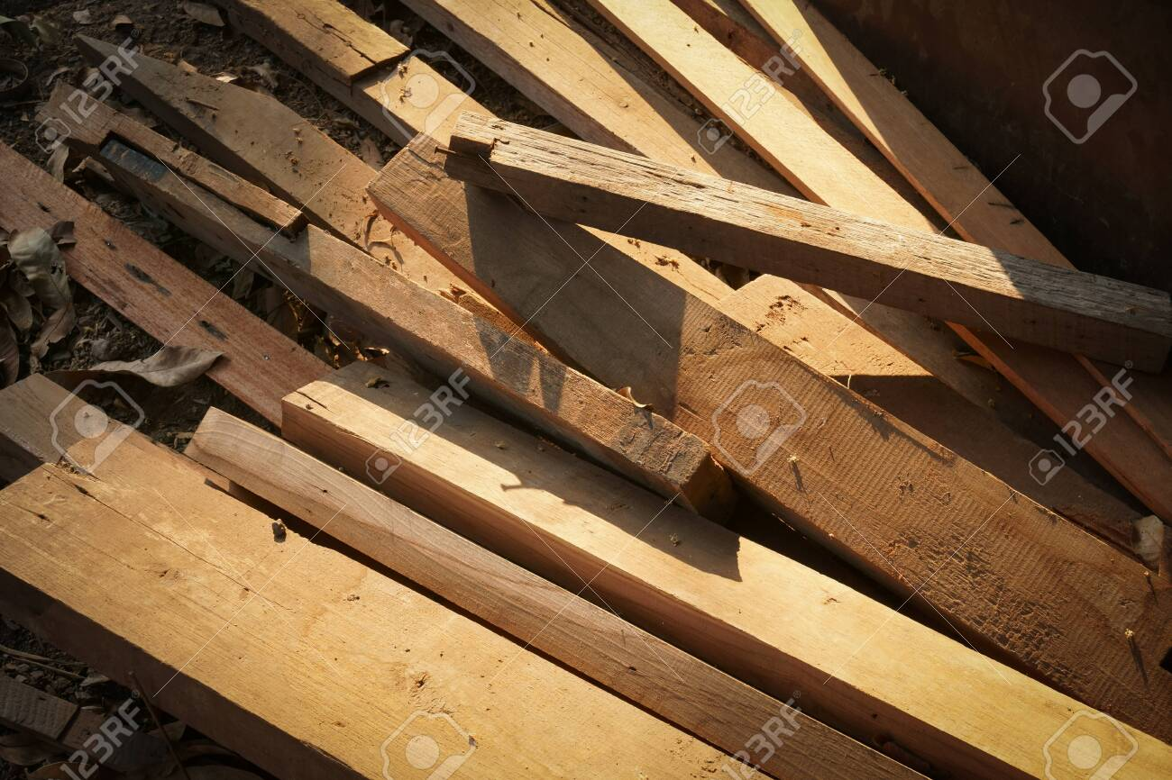 Pile of wood logs for build Furniture production,sew natural wood scraps, ready to recycle and reuse process in improved waste management under efficient sustainable approach to save environment - 144808007
