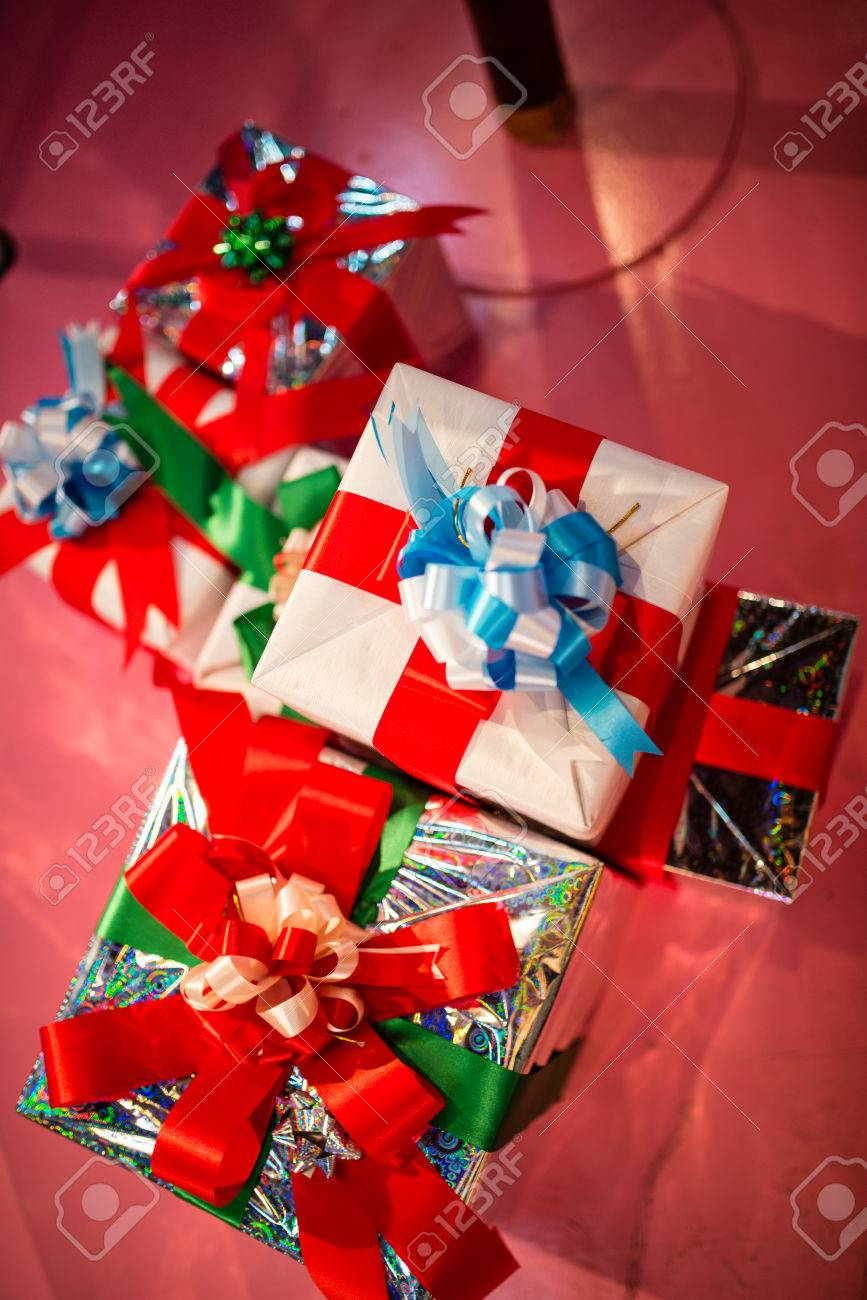 A Group Of Gift Wrapped Christmas Presents Stock Photo Picture And Royalty Free Image Image 34246113