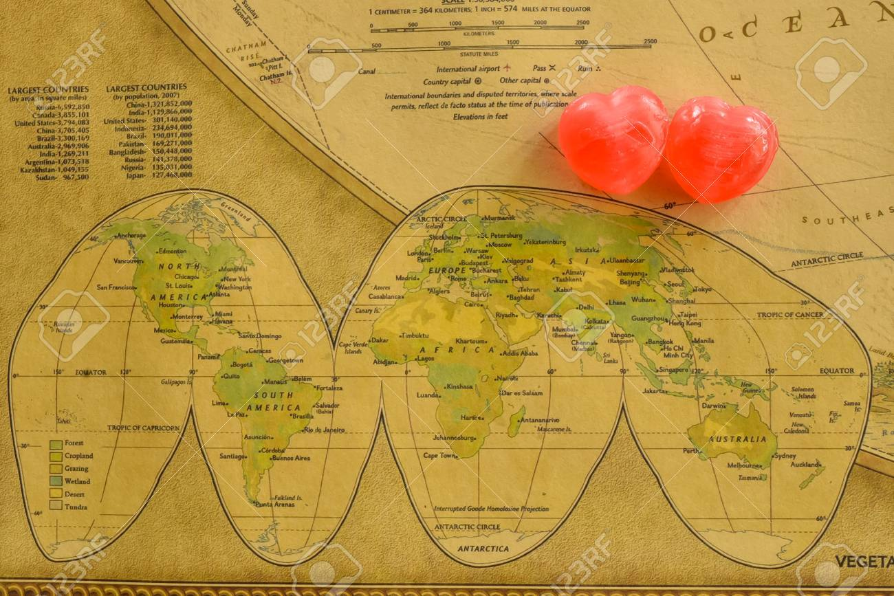 Sweet Heart Candy Present Love In Old World Map Stock Photo Picture