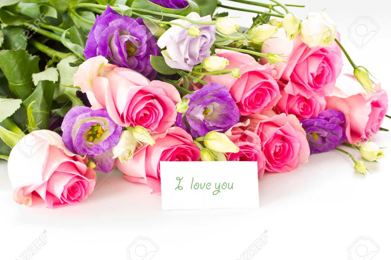 beautiful bright bouquet of roses, Lisianthus and other flowers on a white background Stock Photo - 10998748