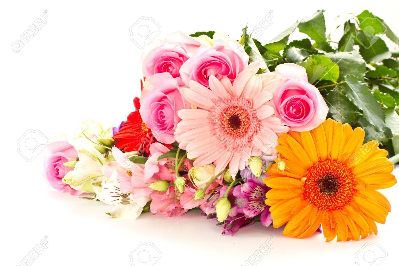 Bouquet stock photos royalty free bouquet images floral bouquet of different flowers on a white background izmirmasajfo