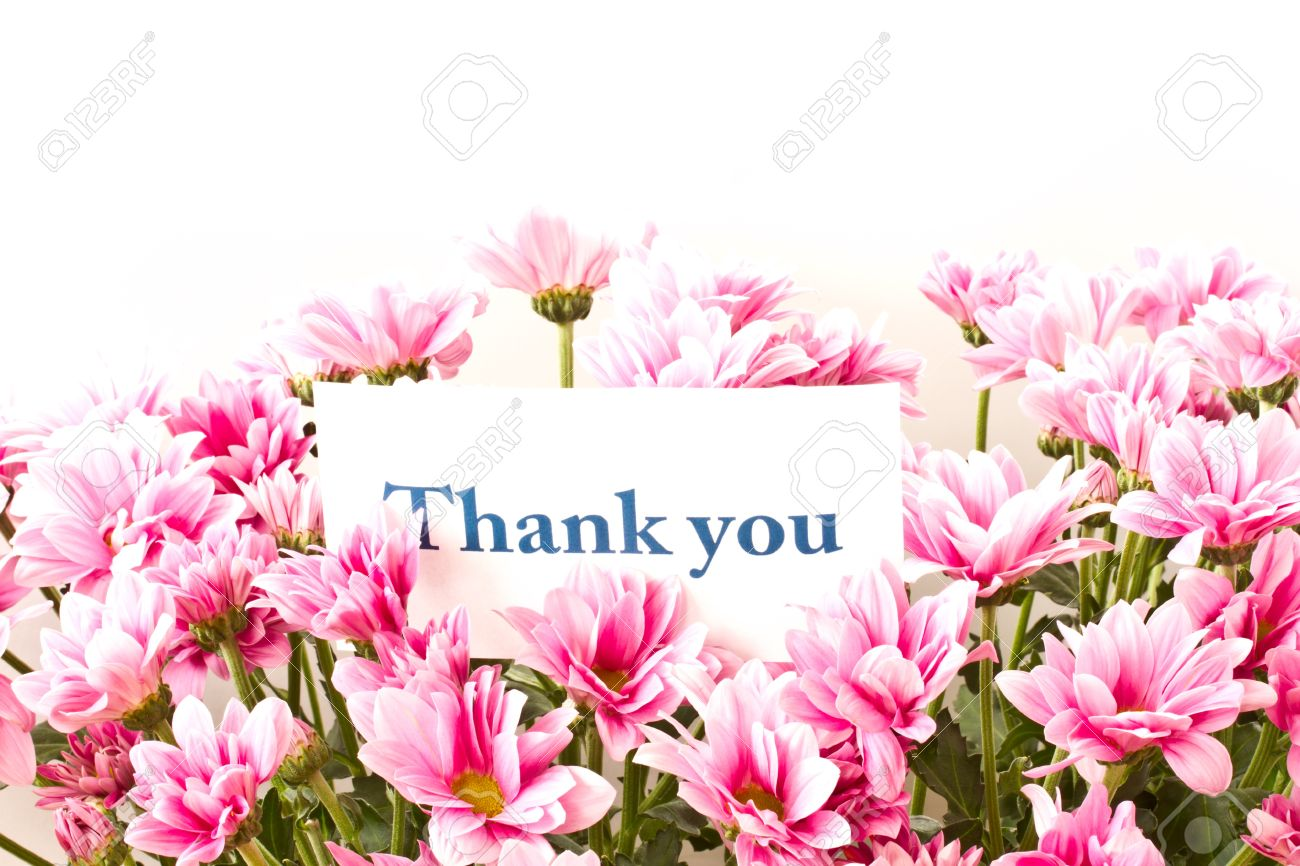 Say Thank You On A Background Of Beautiful Flowers Stock Photo
