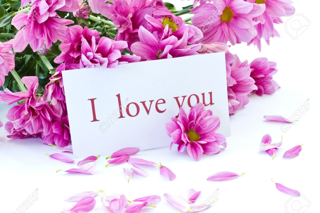 Says i love you on a background of beautiful flowers stock photo says i love you on a background of beautiful flowers izmirmasajfo