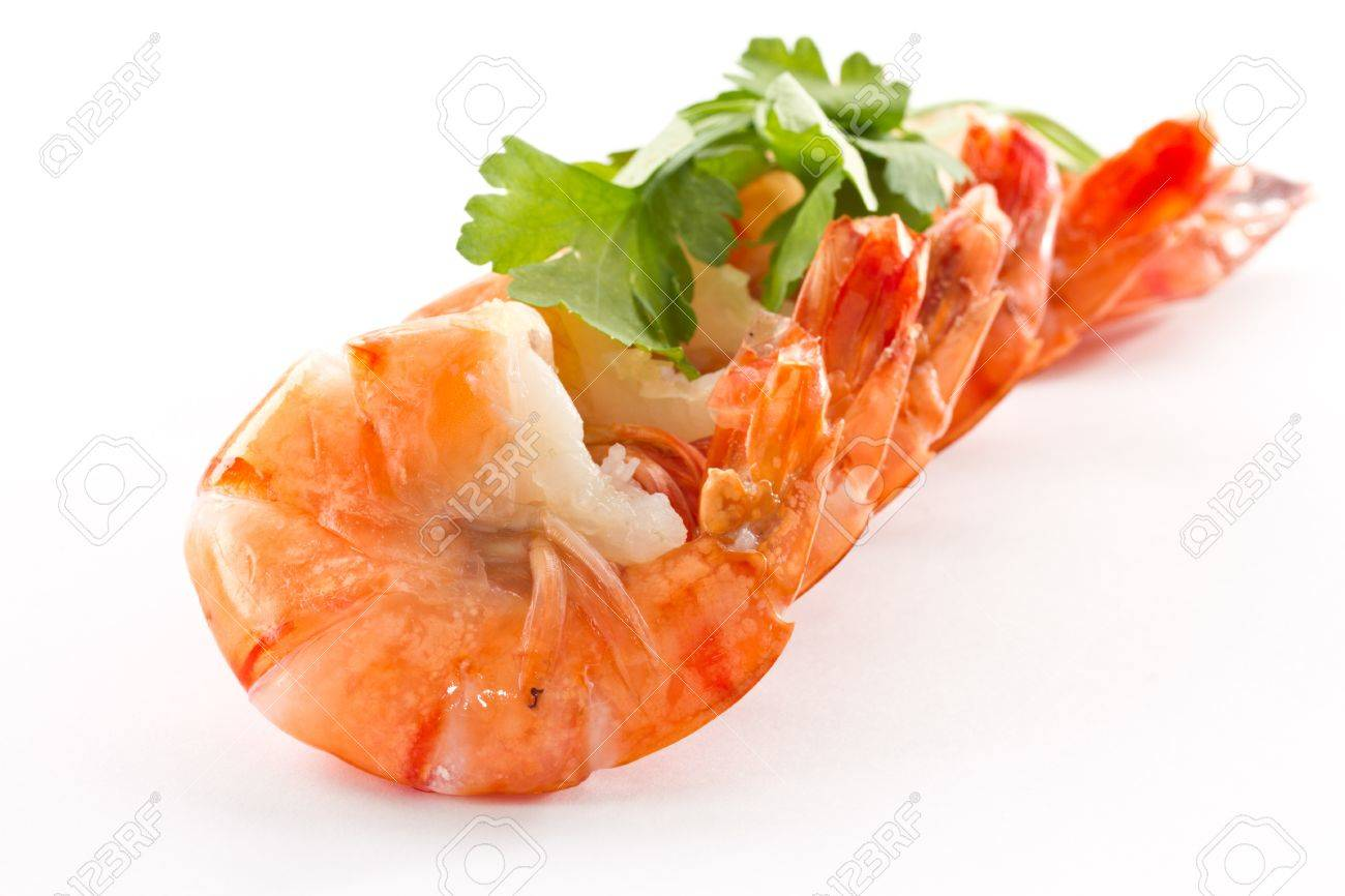 Boiled big red shrimp on a background white Stock Photo - 11972745