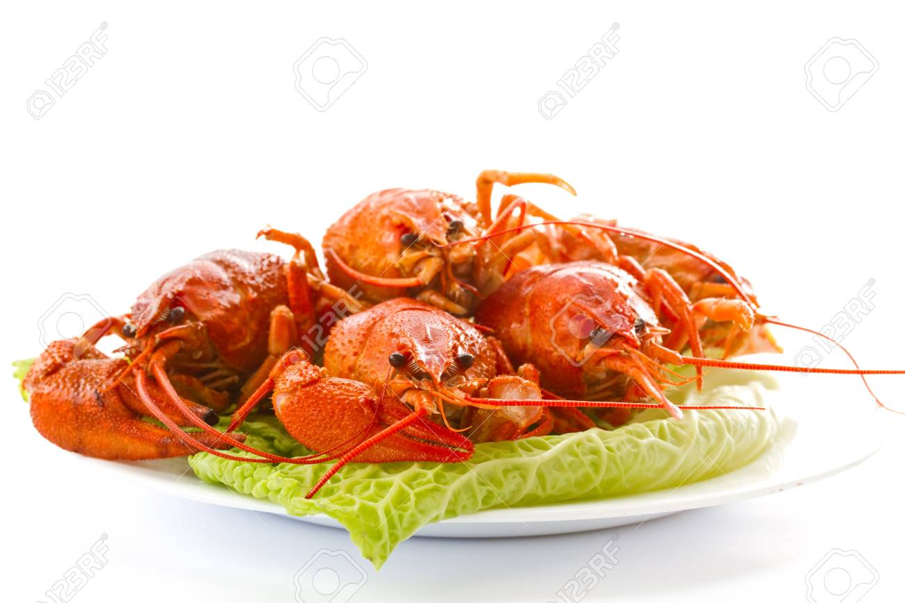 red lobster on lettuce leaves on a white background Stock Photo - 15305786