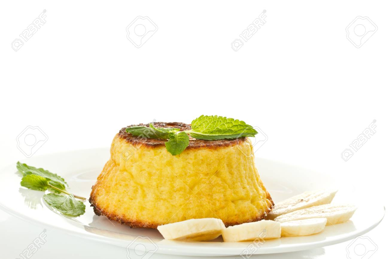 cheese muffins with bananas on a white background Stock Photo - 16317460