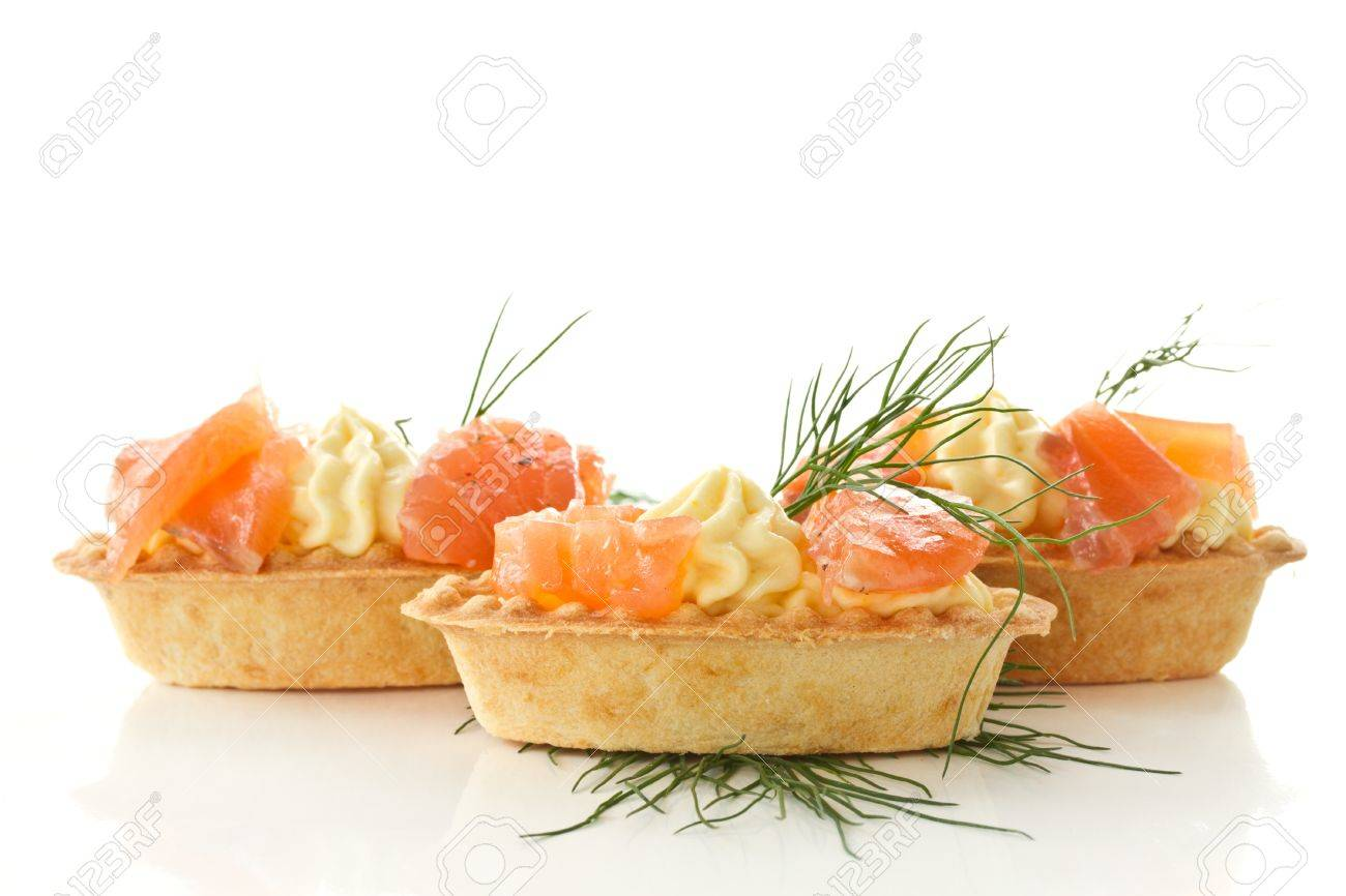 tartlets with cream cheese and salted salmon Stock Photo - 16420740