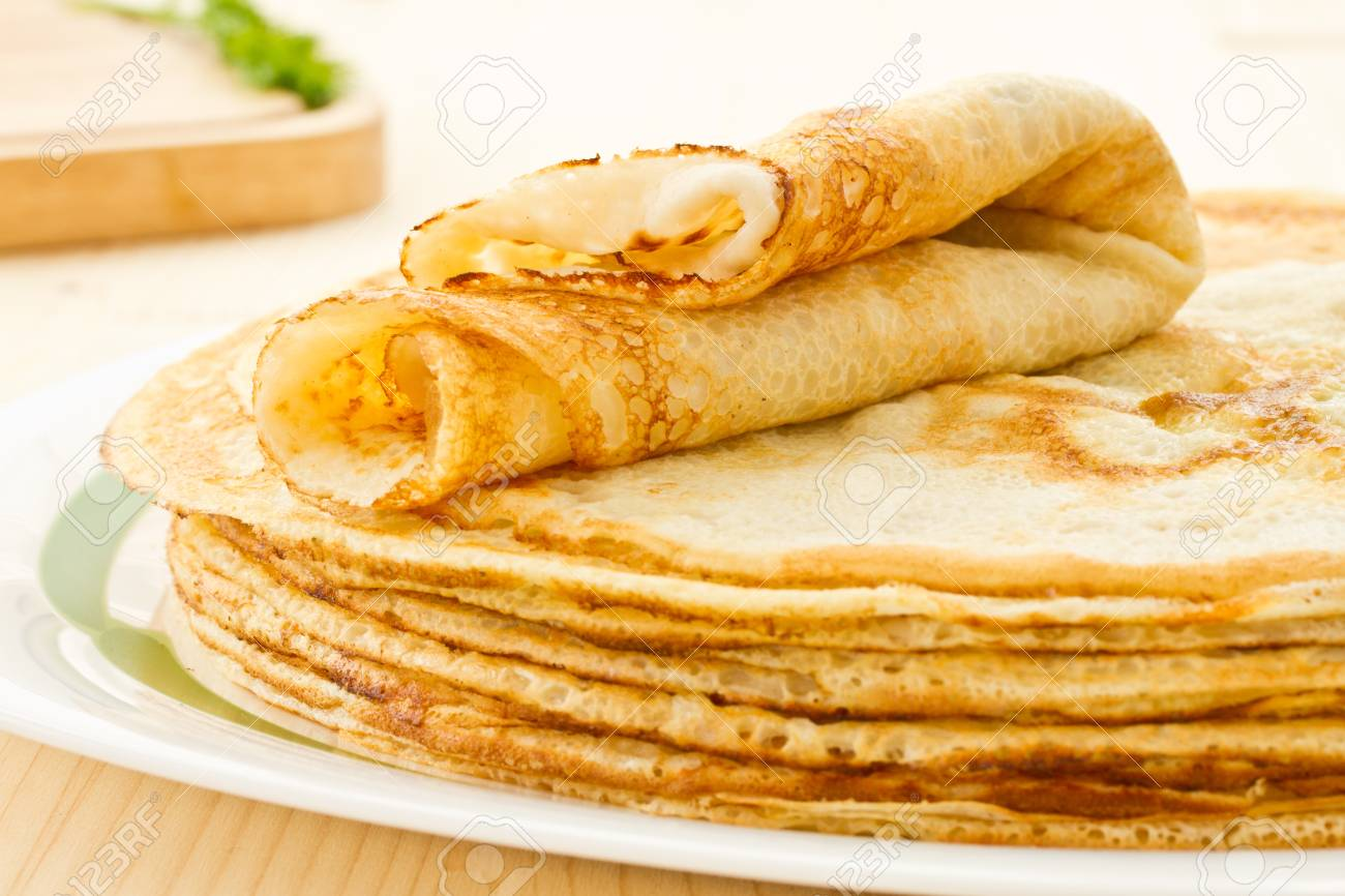 stack of fresh hot pancakes on a plate - 17906119
