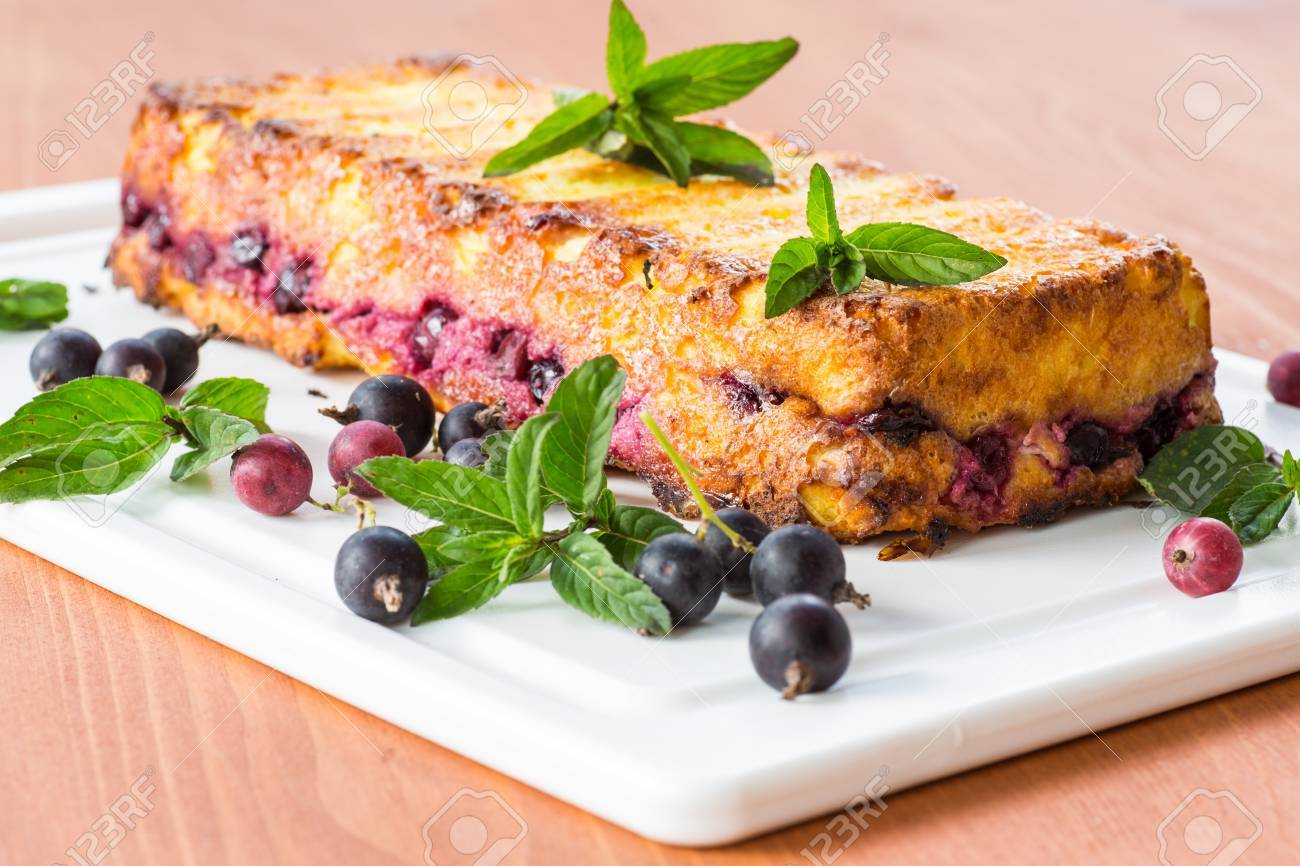 Cottage cheese pie with berries decorated with mint Stock Photo - 20870297