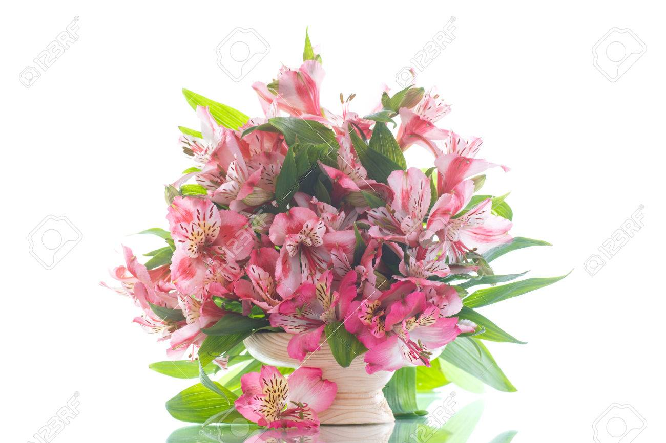 Beautiful Bouquet Of Flowers Alstroemeria On A White Background