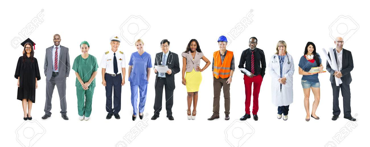 People In Uniform Indicating Their Occupations Royalty Free ...