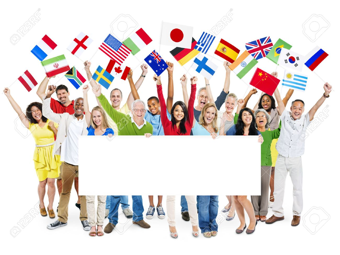 Large group of diverse cheerful multi-ethnic casual people celebrating while holding flags and a white placard - 28911768