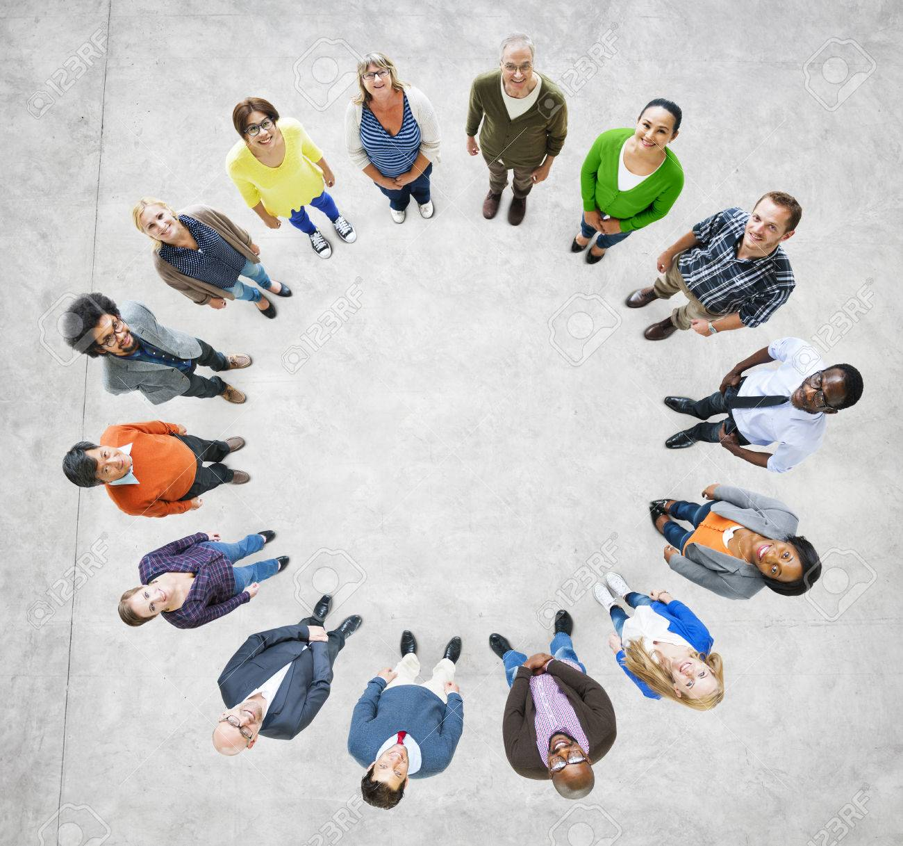Aerial View Of Multiethnic People Forming Circle Stock Photo