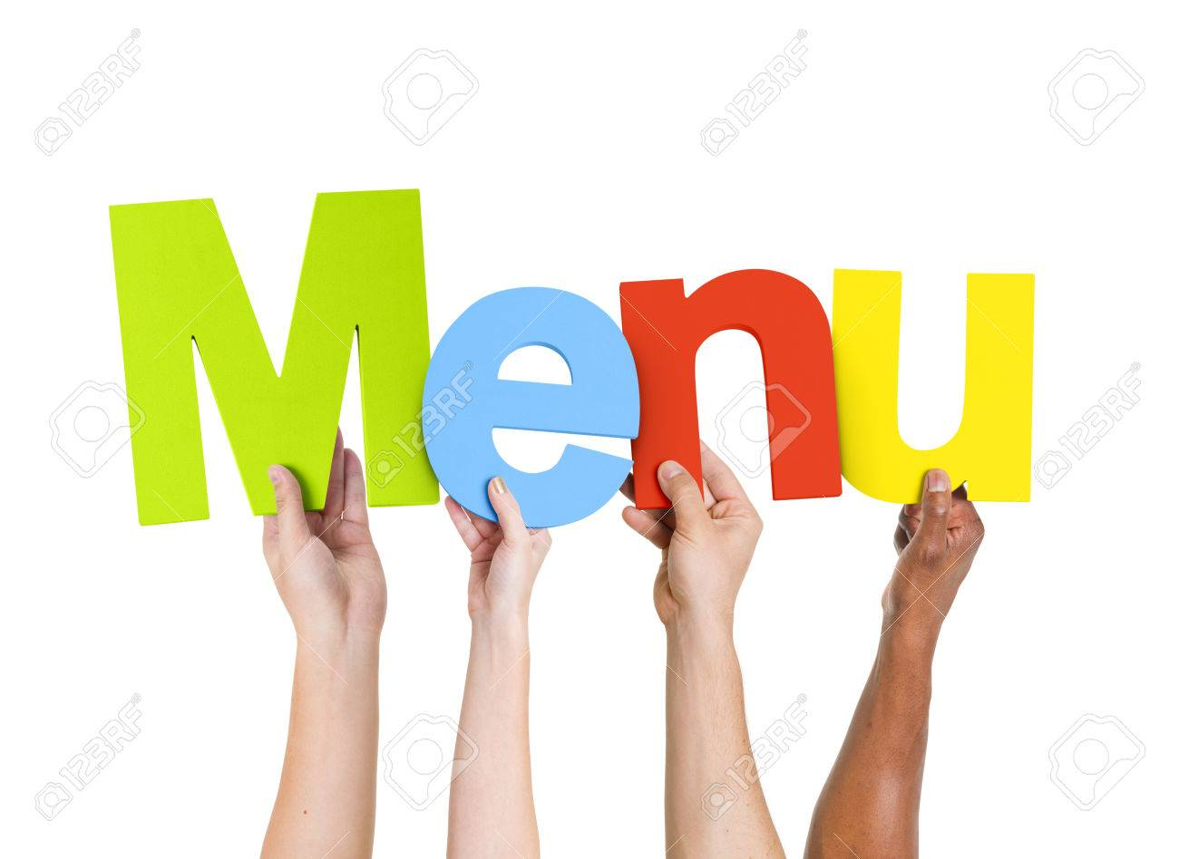Multi Ethnic People Holding The Word Menu Stock Photo, Picture And ...