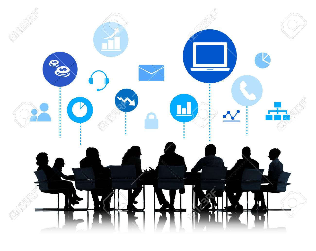 silhouette of business meeting with infographic stock photo picture