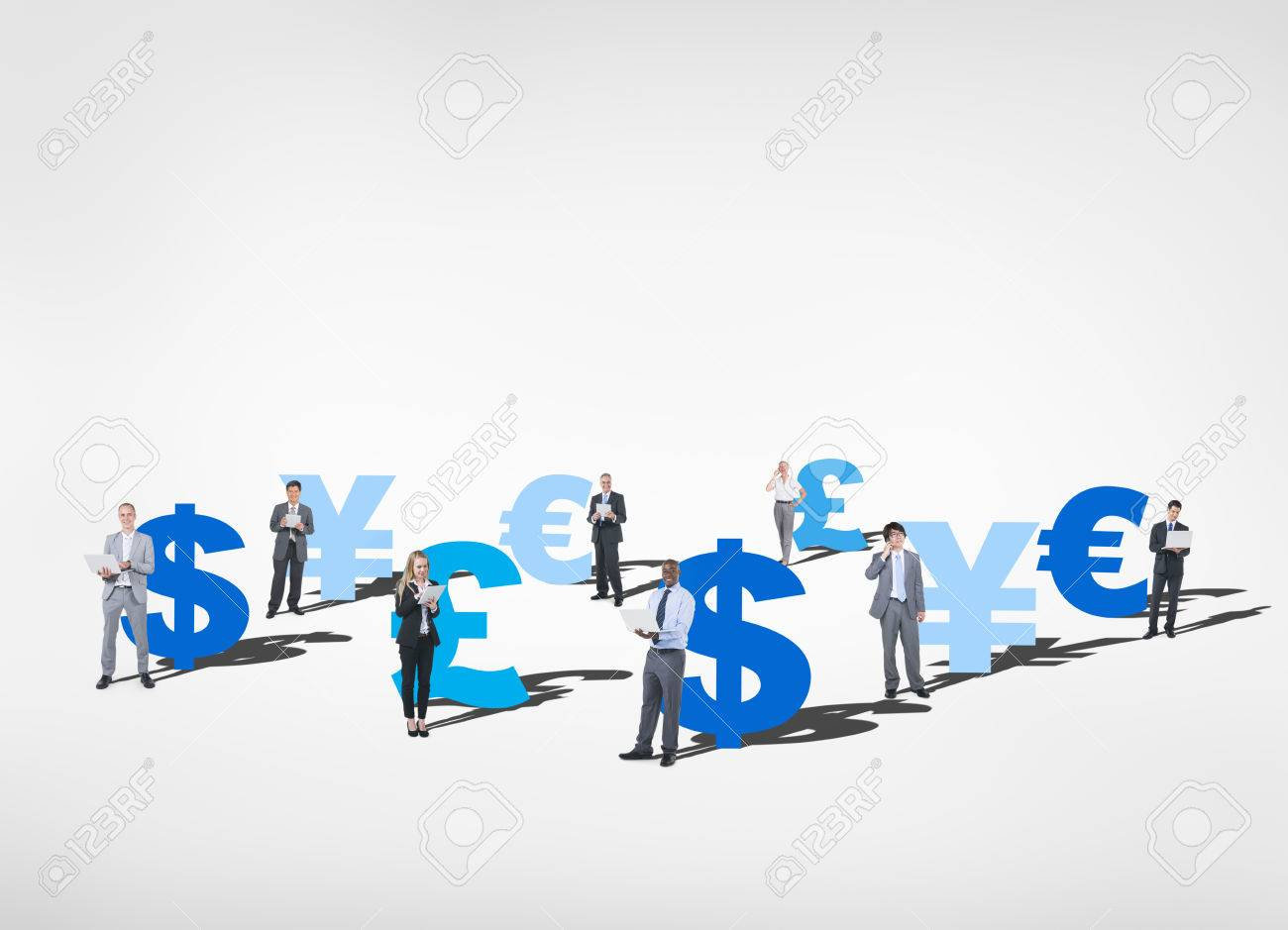 Group Of Business People Posing With Different Currency Symbols