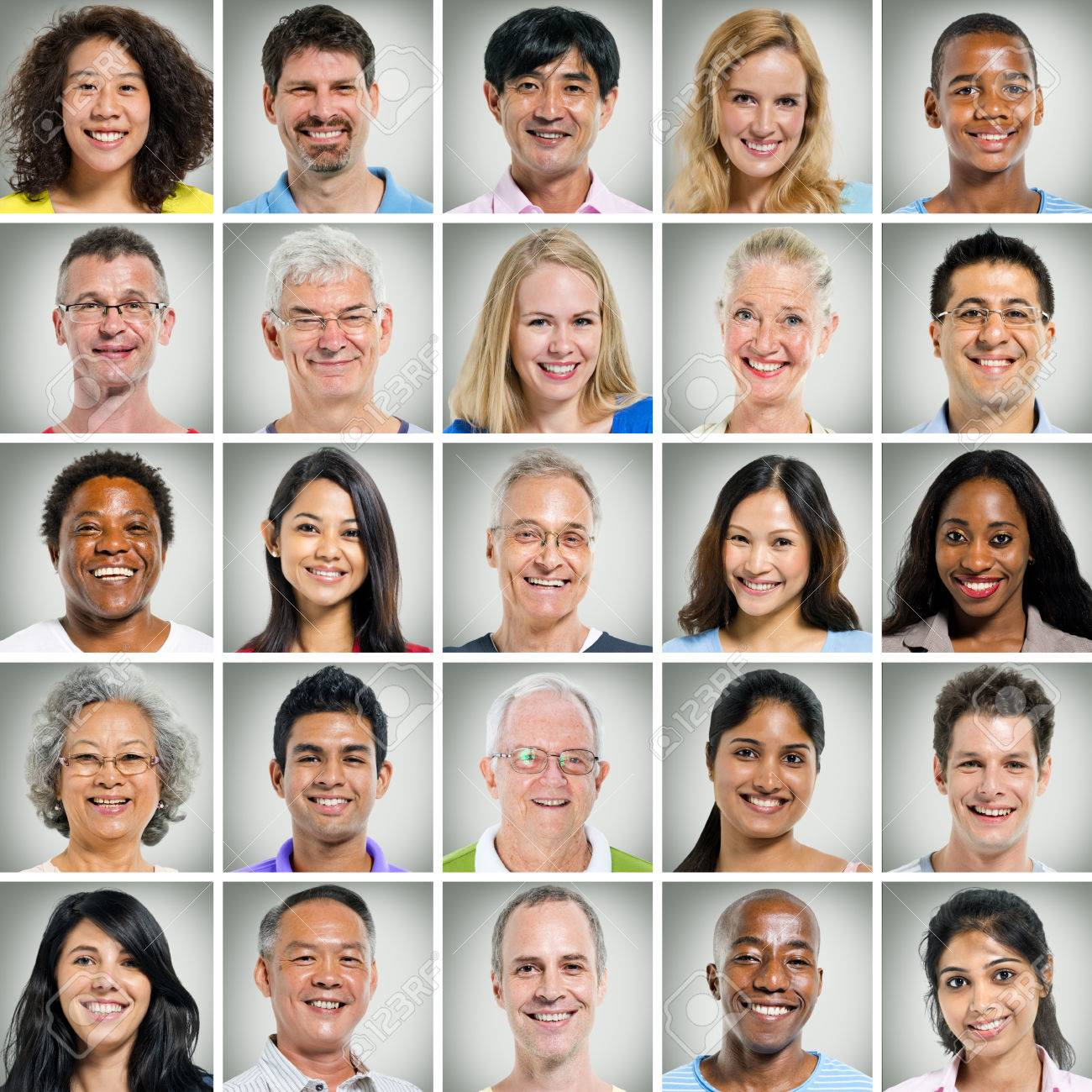 5x5 grid of close ups of smiling people - 34537146