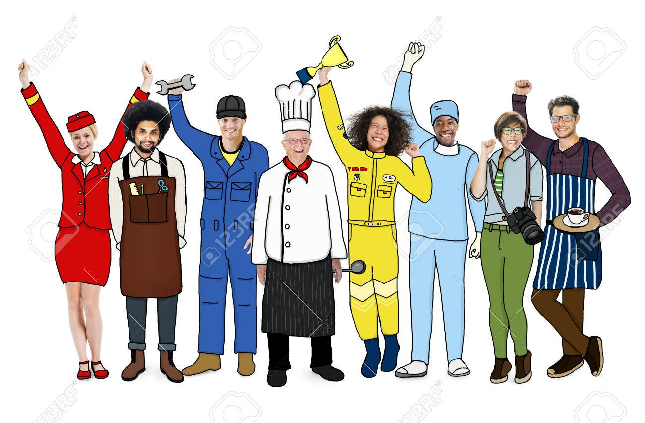 group of diverse multiethnic people with different jobs stock photo