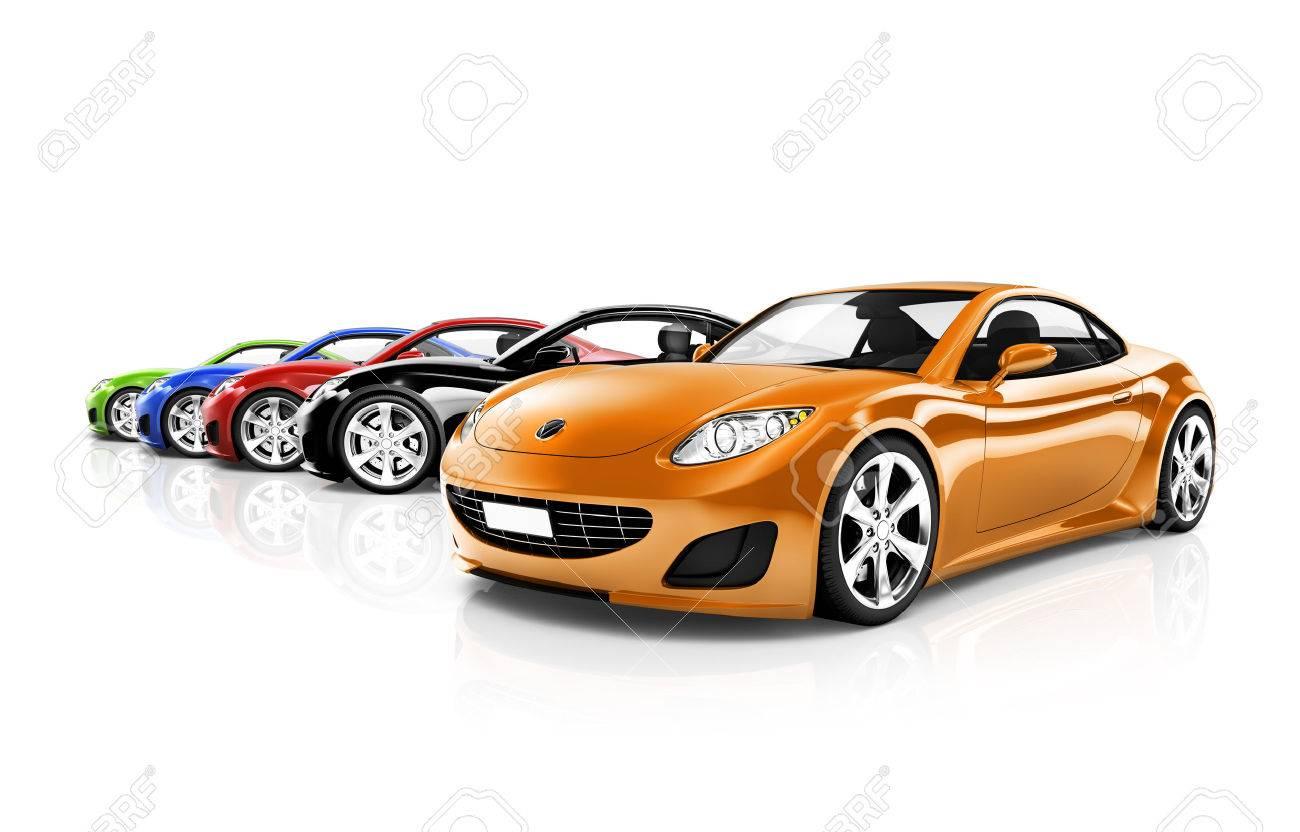 colorido tres coches modernos foto de archivo