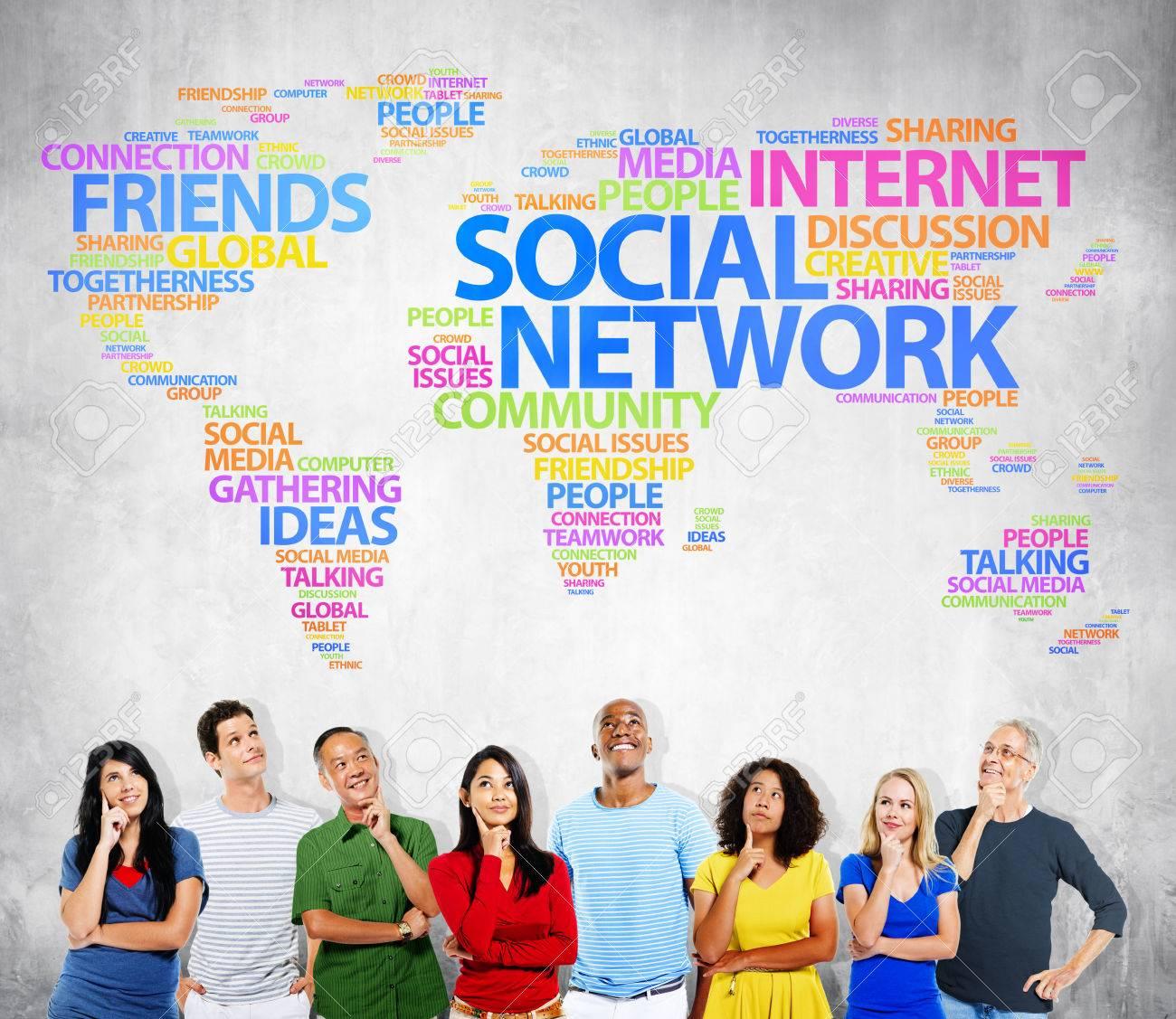 Social Network Internet Friends Ideas Talking Media Community Concept Stock Photo