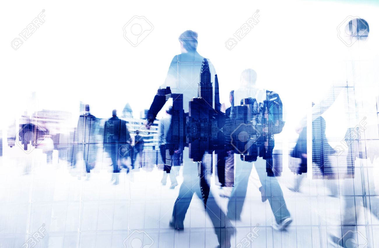 Business People Walking on a City Scape Stock Photo - 34401184