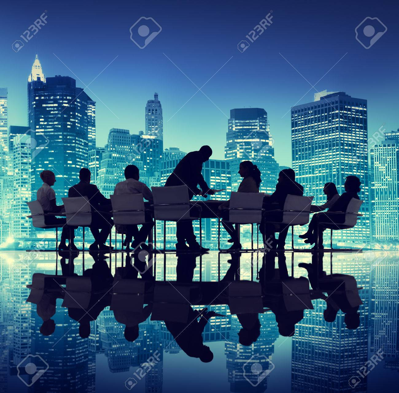 Group Of People Meeting Business Cityscape Teamwork Concept Stock ...