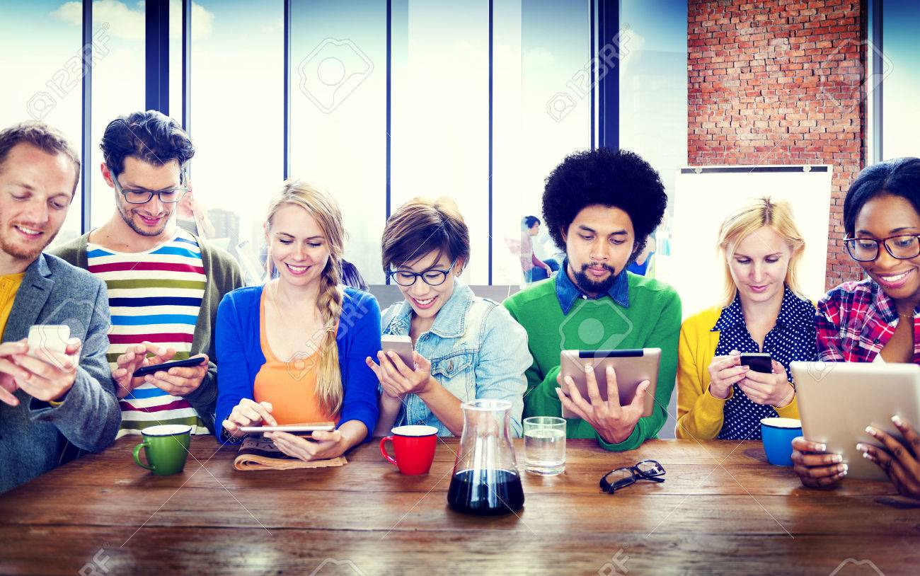 Diverse People Digital Devices Wireless Communication Concept Stock Photo - 35328295