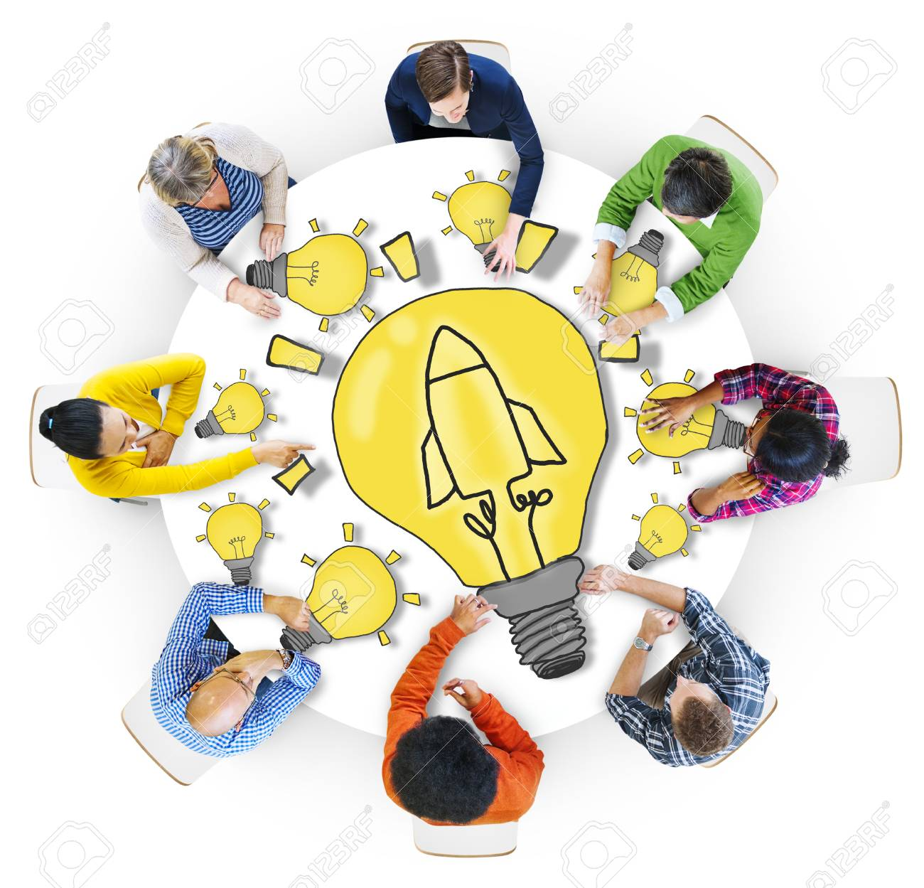 Group Of Diverse People With Light Bulb Symbol Stock Photo Picture