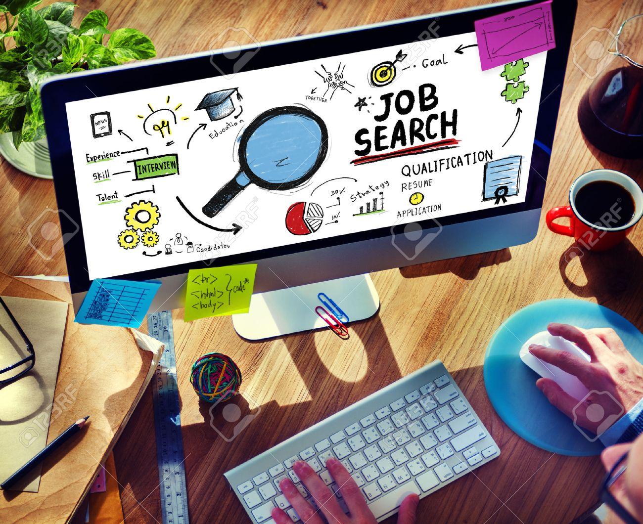 Online Job Search >> Businessman Internet Online Job Search Application Concept