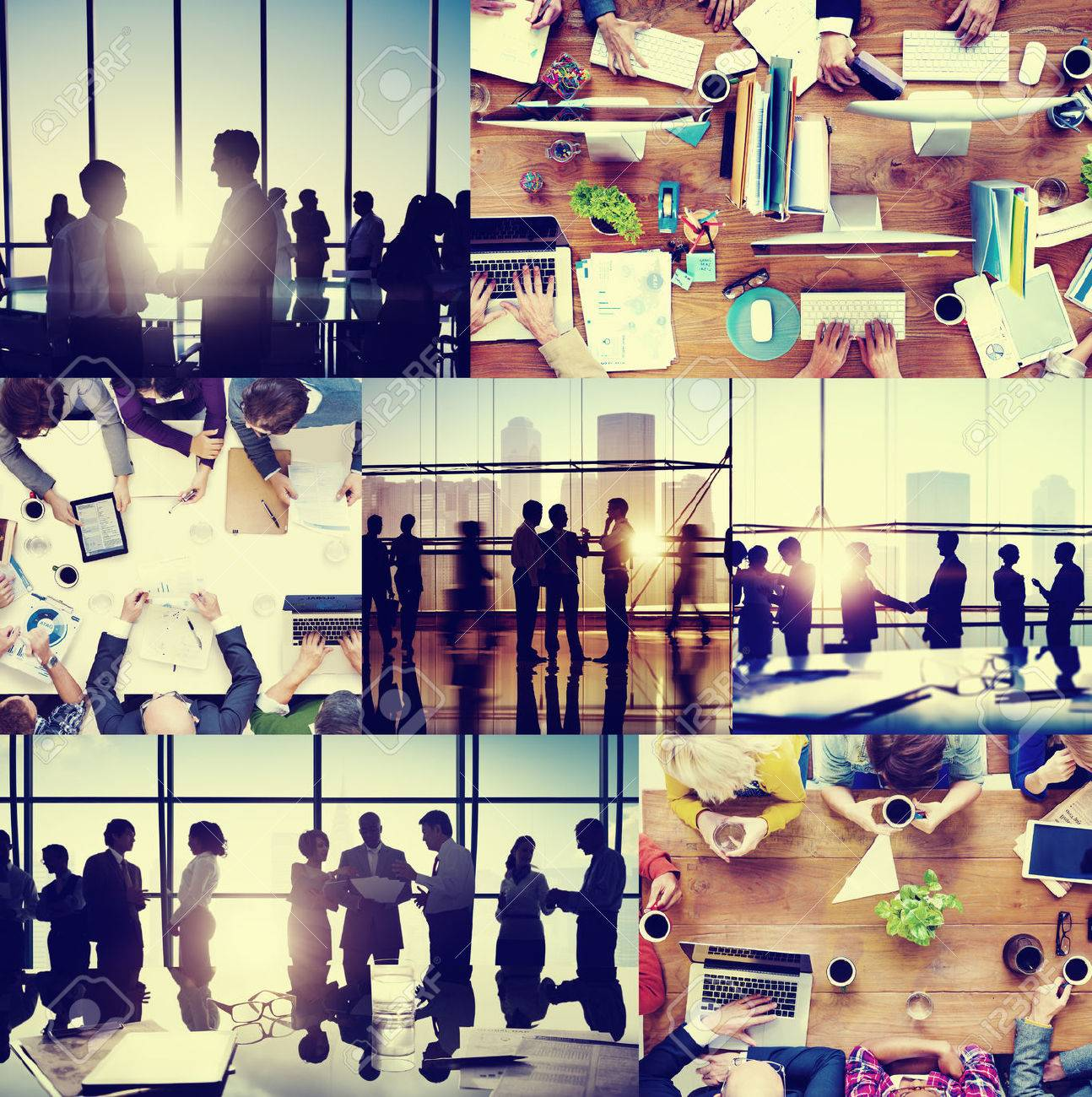 business people colleagues interaction communication office collage concept stock photo 41215486