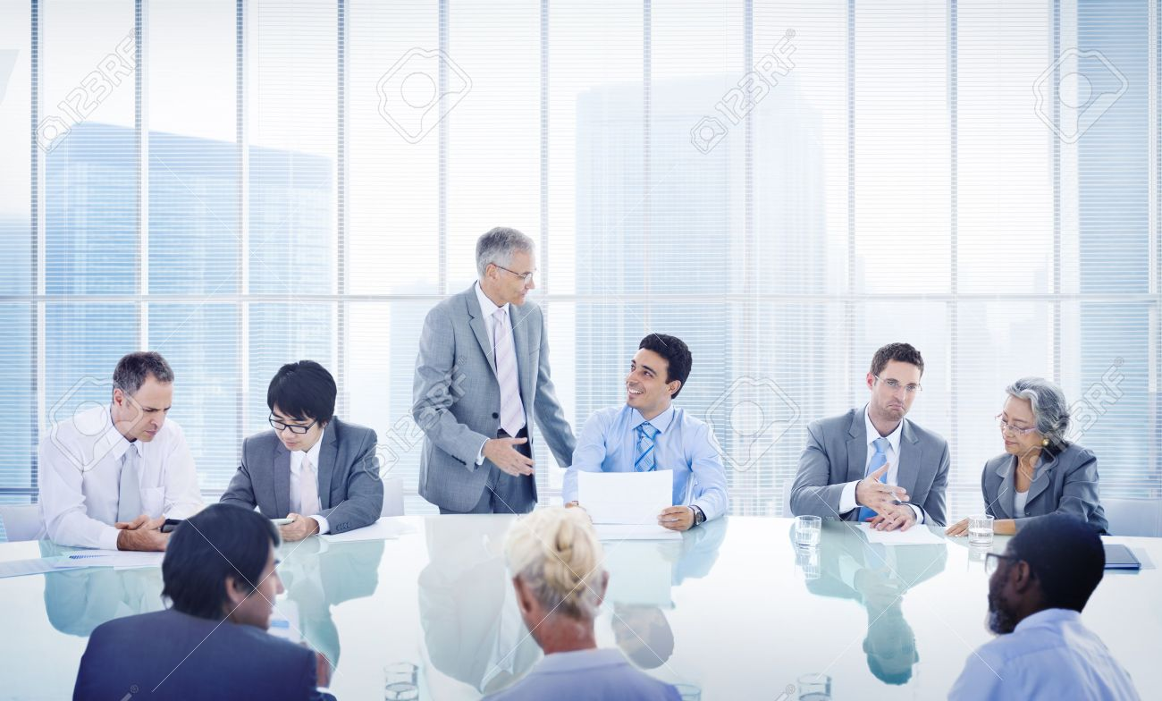 business people corporate meeting presentation communication stock