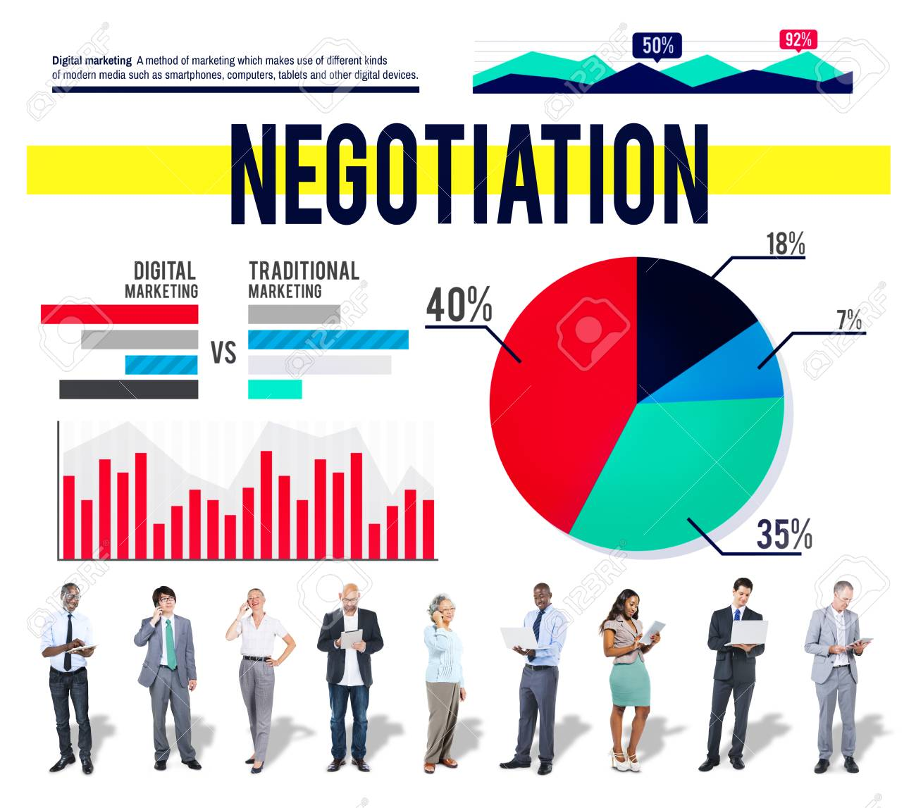 Negotiation Agreement Contract Marketing Business Concept Stock