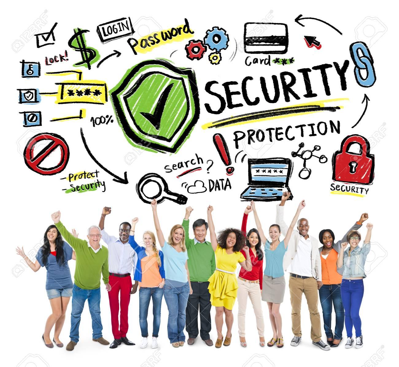 4c59a220 Etnia Gente Alegre Ganar Concepto Protección Seguridad Foto de archivo -  41399501