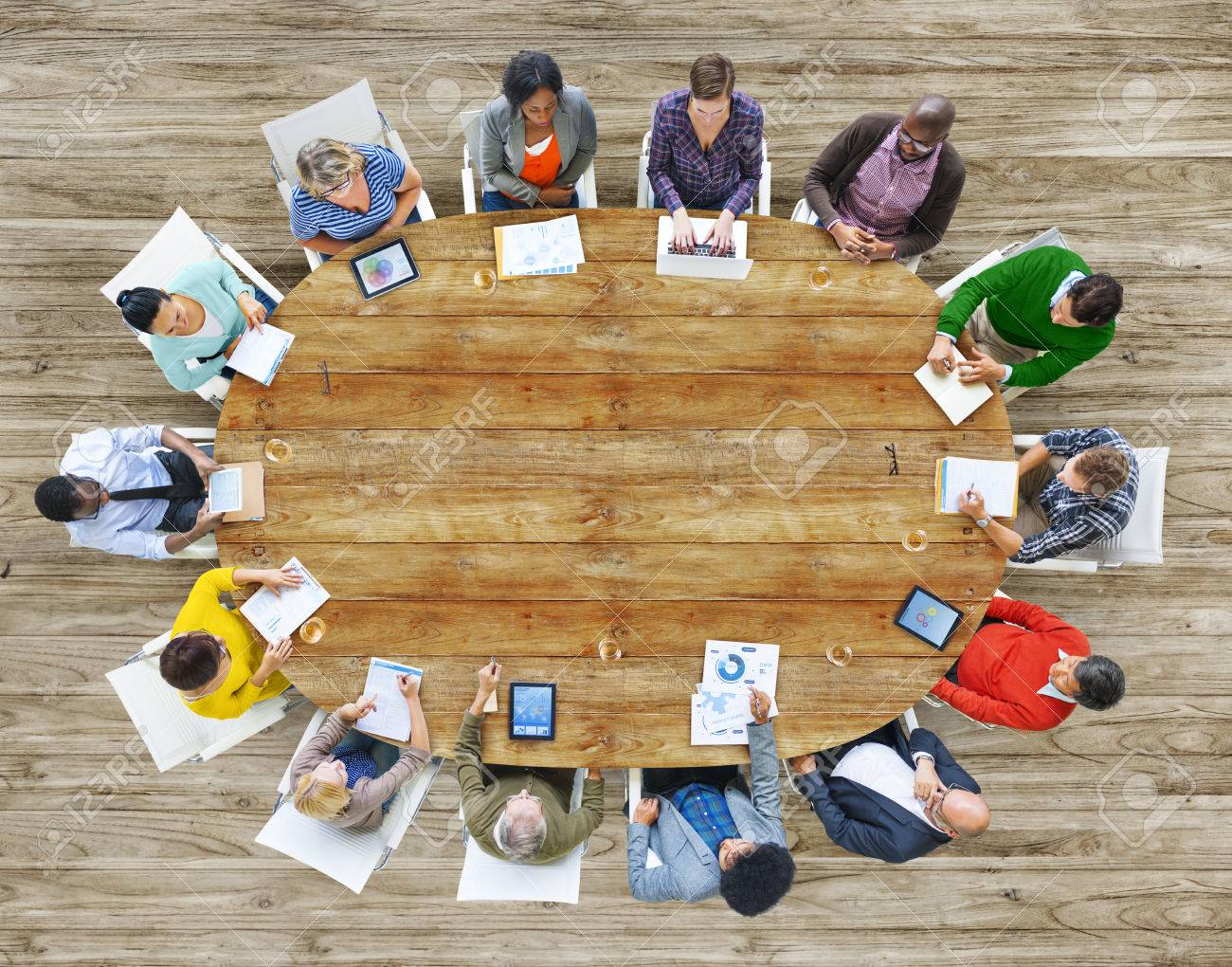 Aerial View People Working Sharing Connection Conference Table Stock Photo