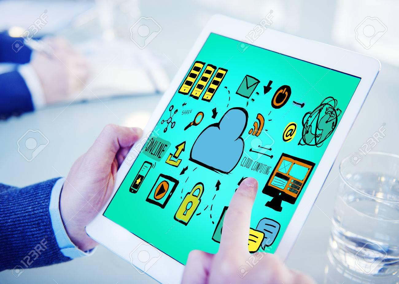 Cloud Computing Network Online Internet Storage Concept Stock ...