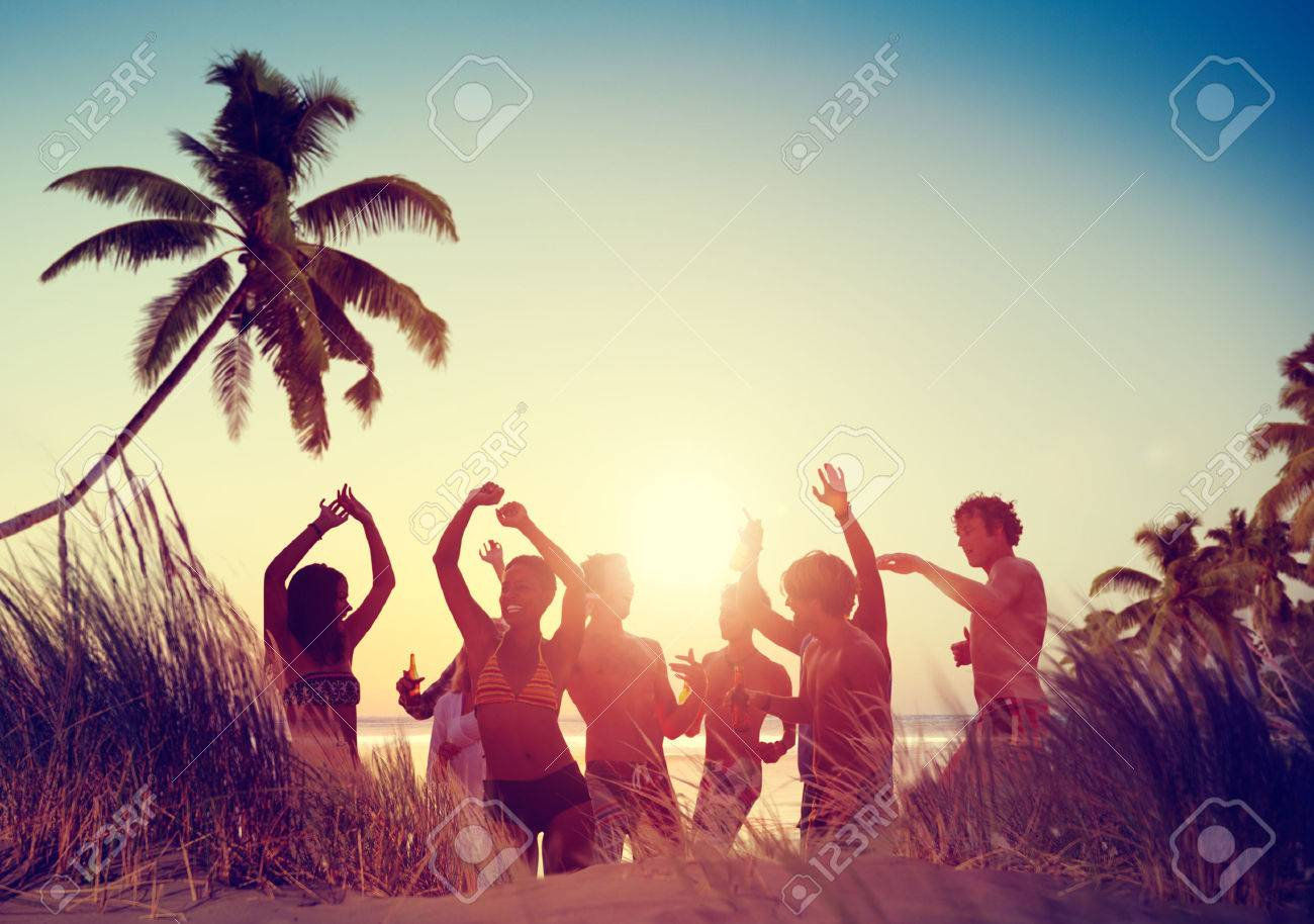 Men holding the word party concept 3d illustration stock photo - Summer Party People Celebration Beach Party Summer Holiday Vacation Concept
