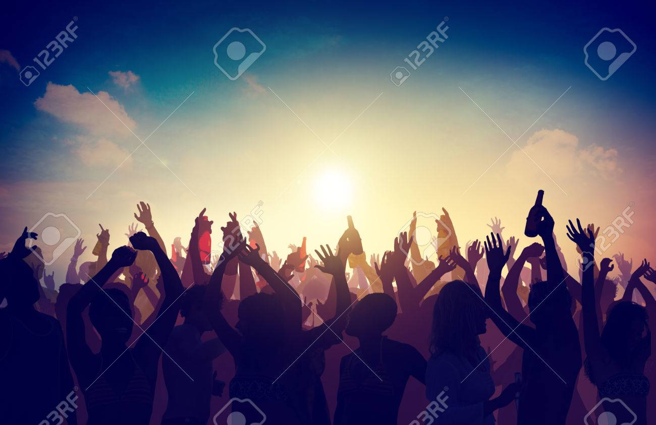 Men holding the word party concept 3d illustration stock photo - Summer Party People Crowd Party Celebration Drinks Arms Raised Concept Stock Photo