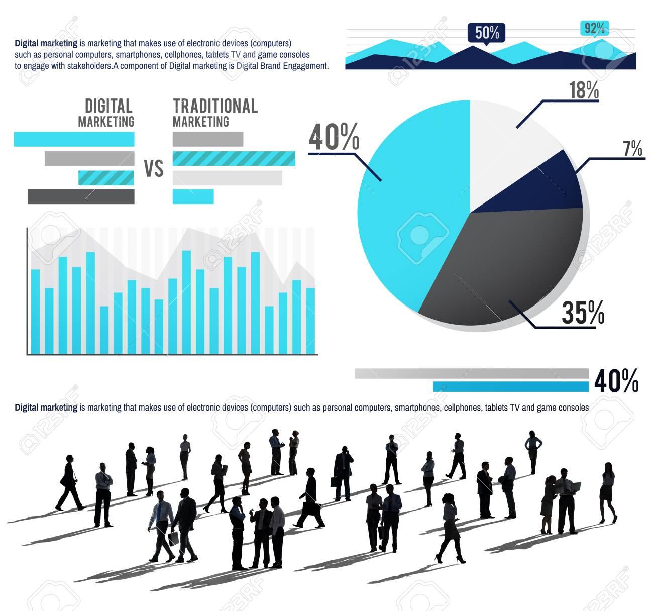 Digital Marketing Graph Statistics Analysis Finance Market Concept ...