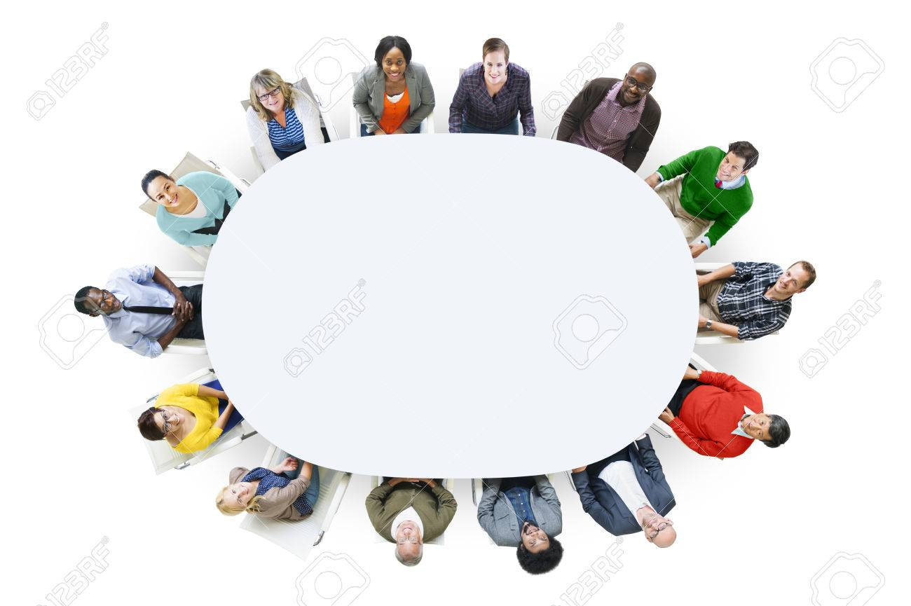 Aerial View Cheerful People Looking Up Conference Table Stock Photo