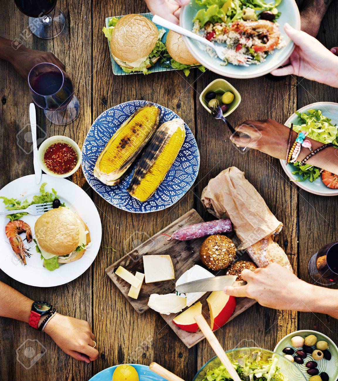 Dinner table with food - Food Table Delicious Meal Prepare Cuisine Concept Stock Photo 44741644