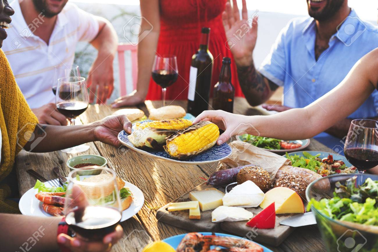 diverse people luncheon food sharing concept stock photo picture