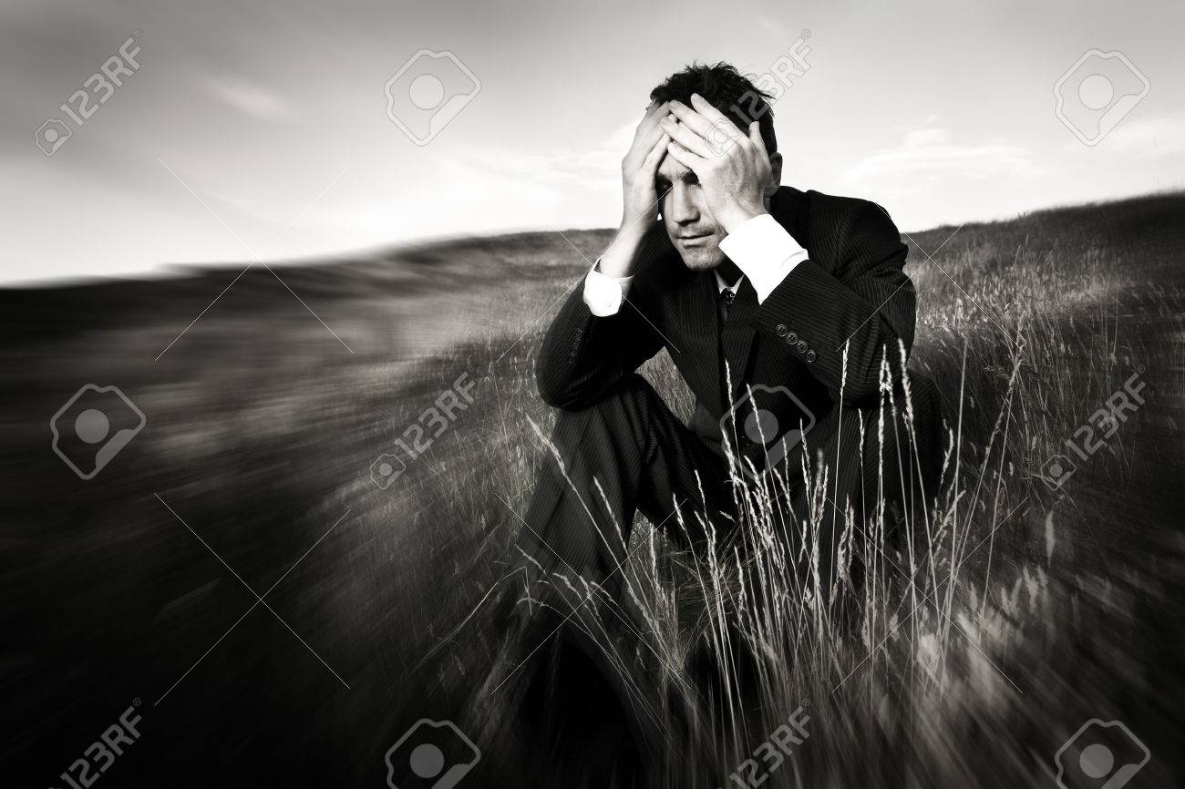 Lonely businessman depressed about life stress concept stock photo 46312281