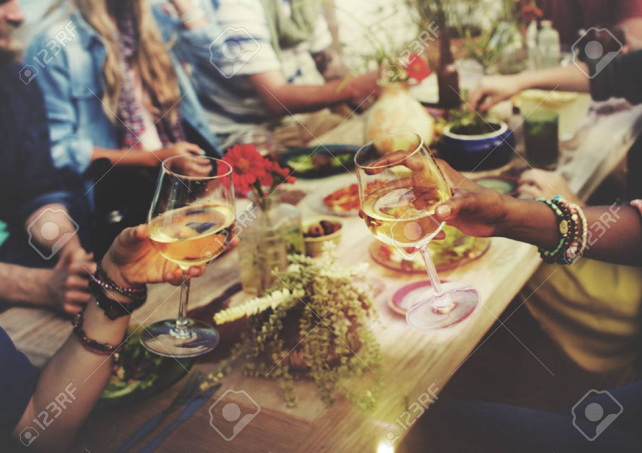 Beach Cheers Celebration Friendship Summer Fun Dinner Concept Stock Photo - 46599814