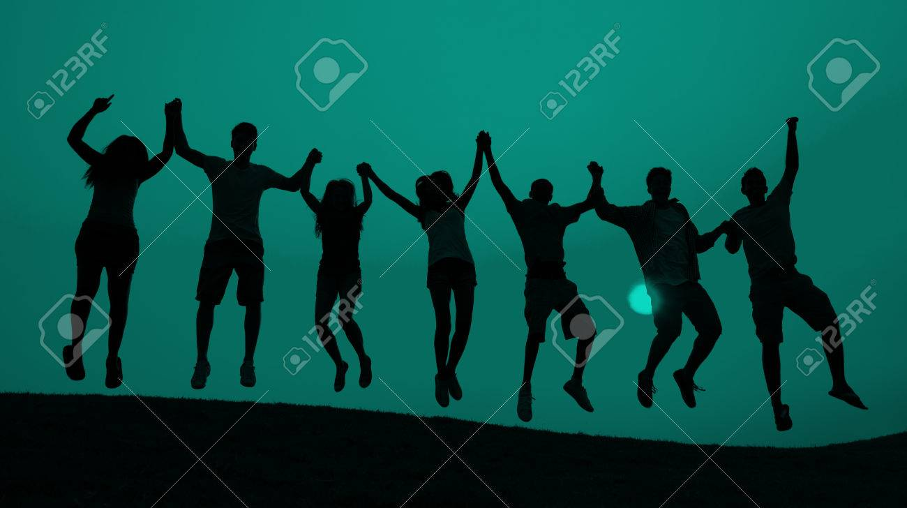 Students Youth Jumping Fun Celebration Concept - 46599415