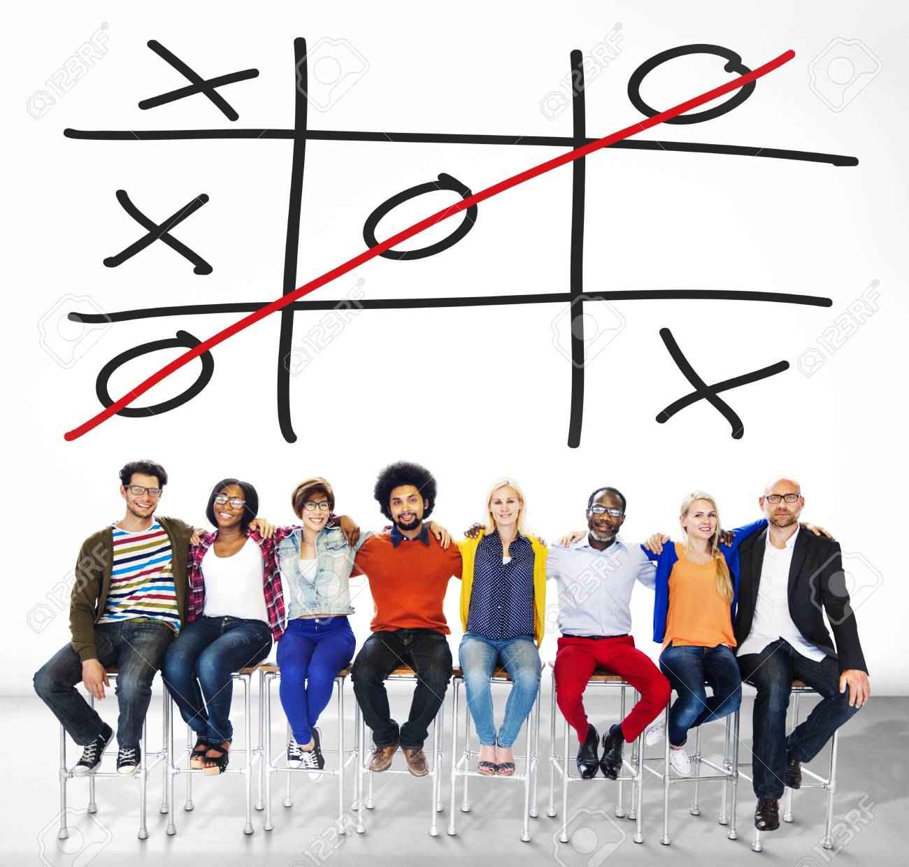 Tic Tac Toe Game Competition XO Win Challecge Concept Stock Photo